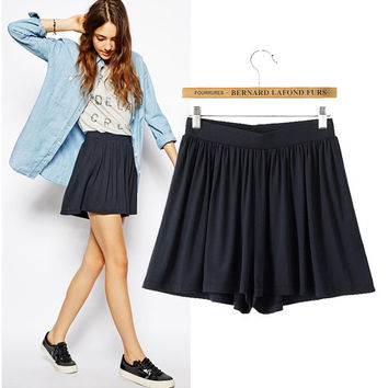 Stylish Cotton Ruffle Women's Fashion Dress Pants Shorts [6048010625]