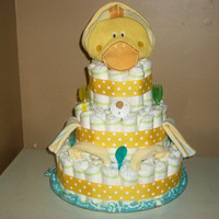 baby shower 4-tier ultimate neutral bubble bath yellow duck diaper cake table centerpiece or baby gift boy, girl, unisex or neutral