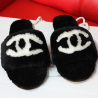 CHANEL New Fashion Slipper Women Sandals Slippers Shoes Black