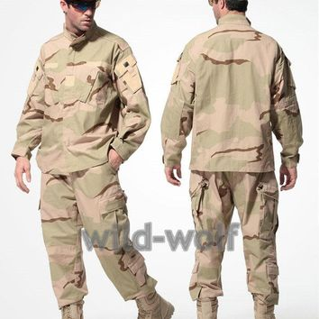 US Army TacticalMilitary Camouflage Combat Uniform Airsoft Camo ACU Men Clothing Outdoor Hunting suits Jacket + Pants  Desert