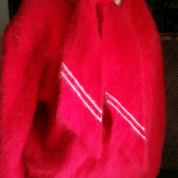 50's Red Angora Sweater with Attached Scarf, Fuzzy Soft Angora Sweater, Holiday Sweater, Sweater with Scarf, Christmas Sweater, Red Sweater