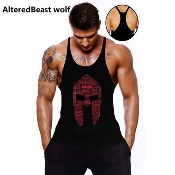 Men Tank Tops Spartan Print Bodybuilding Tank Top Fitness Men Vest Brand Sleeveless Shirts O-Neck Tank Top Men Workout Vest