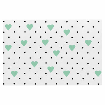 "Project M ""Pin Point Polka Dot Mint"" Green White Decorative Door Mat"
