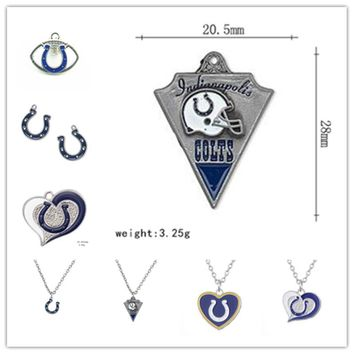 New Arrival Indianapolis Colts Football Team Logo Dangle Charms Fit DIY Bracelet&Necklace Pendant Jewelry 20pcs/lot