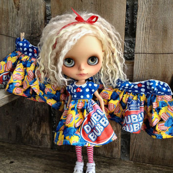 dolly molly Dubble Bubble GUM dress red yellow blue for Blythe doll