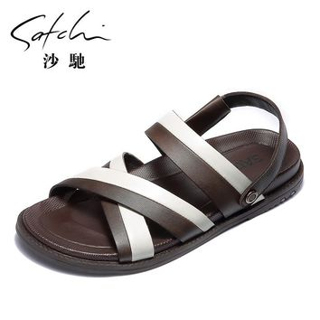 Full Grain Leather Striped Sandal and Slipper with Rubbery Sole