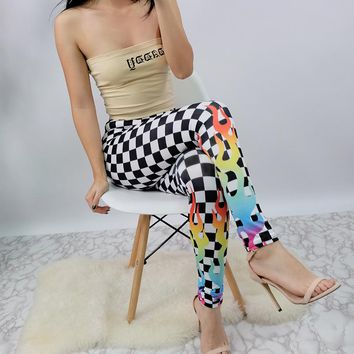 2017 black and white grid hit color flame yoga women's fashion [129129644057]