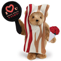 "15"" I Love You More Than Bacon Bear with Roses"