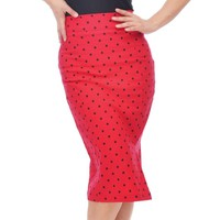 Steady Clothing Polka Dot Pencil Skirt - REd