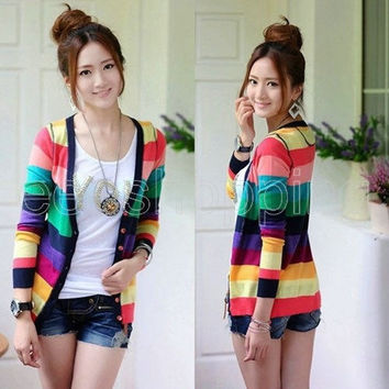 Spring Winter Fashion Women Girl Sweater Rainbow Striped Deep V-neck Long Sleeve Knitted Shirt Slim Christmas Sweater Knitwear Pullover Cardigans Jacket  (Size: M, Color: Multicolor) = 1920104324