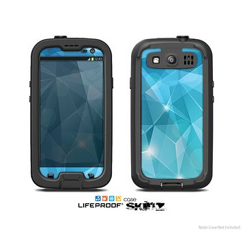 The Vector Shiny Blue Crystal Pattern Skin For The Samsung Galaxy S3 LifeProof Case