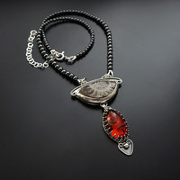 Silver Necklace With Ammonite & Amber