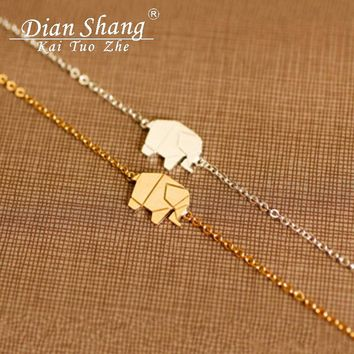 2017 Gold Color Charms Bracelet Femme Stainless Steel Women Dainty Jewelry Lucky Origami Elephant Bracelets Friendship Gifts BFF