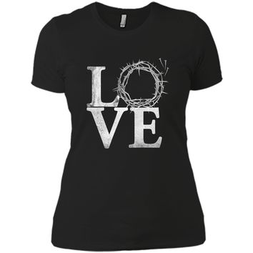 Easter Shirt with Crown of Thorns Next Level Ladies Boyfriend Tee