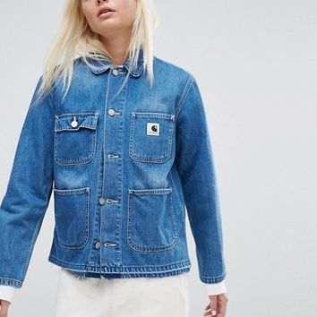 Carhartt WIP Workwear Denim Jacket With Raw Hem at asos.com