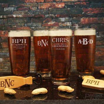 Personalized English Pub Beer Drinking Glass with Engraved Groomsman Designs & Font Selection OPTIONAL Monogrammed Magnetic Bottle Opener