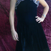 Boned Black crust  Velvet  Halter top Dress Size 6