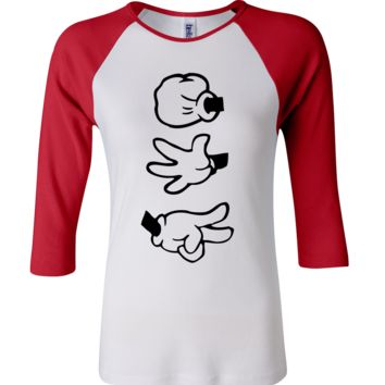 Rock, Paper, Scissors 3/4 Sleeve Baseball Ladies Jersey