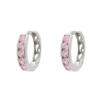 BecKids Barbie Pink CZ Sterling Silver Huggie Earrings for Girls