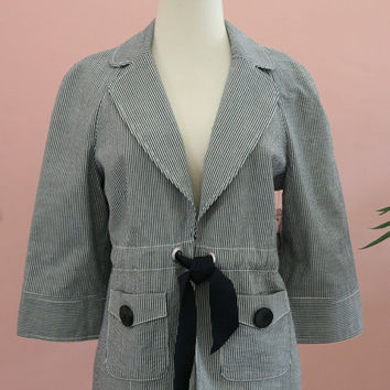 Denim and White Searsucker Tie Front Blazer Large Buttom Pockets Size Small