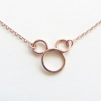 Gold Mickey Mouse Necklace Rose Gold Necklace Disney Fan Flower girl gift Disney Weddings Minnie Mouse Jewelry