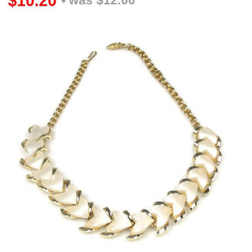 Spring Sale Vintage White Heart Shaped Thermoset Necklace