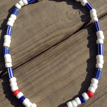 Necklace glass chevron patriotic