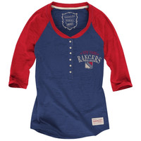 Mitchell & Ness New York Rangers Ladies Three Quarter Sleeve Henley T-Shirt - Royal Blue/Red