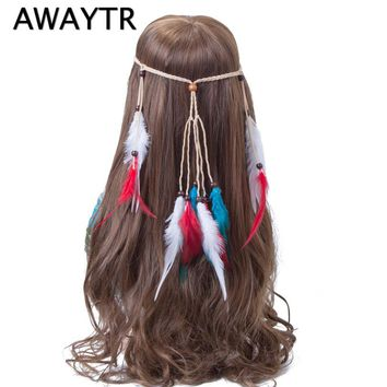 AWAYTR Brand New Feather Carnival Headdress Women White Blue Red Feather Head Dress Indian Festival Beads Adjustable Headband