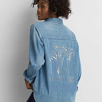 AEO Embroidered Denim Boyfriend Shirt, Medium Wash