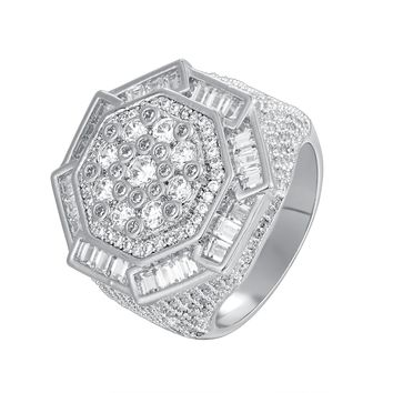 Men's Baguette Flower Iced Out Custom Designer Ring