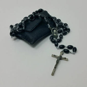 Vintage Black Beaded Catholic Rosary Made in Italy