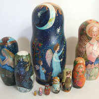 """10pcs One of a Kind Russian Nesting Doll """"Night & Day"""" by L. Repina"""