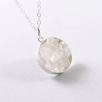 Clear quartz crystal necklace rough sterling silver jewelry