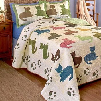 Cat Print Bedding Accessories Quilted Silhouette Paw Print Vermicelli Stitching Reversible
