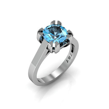 Modern 14K White Gold Gorgeous Solitaire Bridal Ring with a 2.0 Carat Blue Topaz Center Stone R66N-14KWGBT