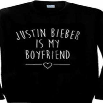Individual long-sleeved letters sweater JUSTIN BIEBER IS MY BOYFRIEND