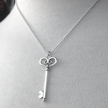 Key Necklace, Large Key Necklace, Key Jewelry, Skeleton Key Necklace, Key Pendant, Sterling Silver Jewelry, Sterling SIlver Key Necklace