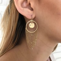 Hoop & Chain Earrings in Gold
