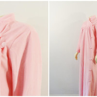 Vintage Robe Housecoat 60s Sears At Home Wear Pink Full Length Side Buttons Size Large Modern M L XL