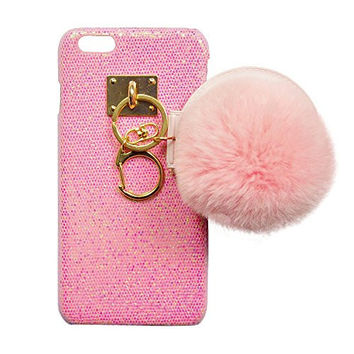 """S&C Cute Luxury String of Beauty Mirror Fur Ball Chain Bling Glitter Hard Back Case Cover Phone Case for iPhone 6 6S (4.7"""") Pink"""