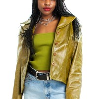 Vintage Y2K Selma Olive Green Leather Jacket - XS/S/M