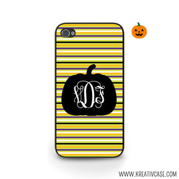 Halloween Phone Case, Pumpkin, Monogrammed iPhone Case, iPhone 4, iPhone 5, Stripes, Samsung S5, Phone Cover - H002