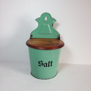 Vintage Mint Green & Black Enamelware and Wooden Maple Lid Salt Cellar, Wall Mount Salt Box, Country Farmhouse Kitchen, German Enamelware