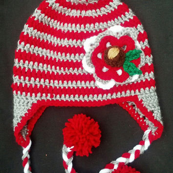 Ohio State Buckeyes with Flower Ear Flap Hat