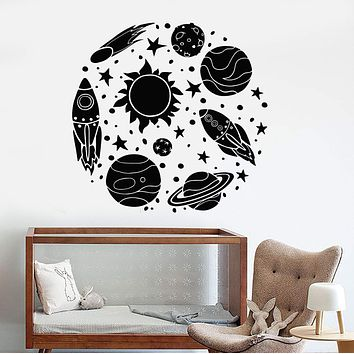 Vinyl Wall Decal Rocket Astronaut Cartoon Sun Space Planets Stickers Unique Gift (1327ig)