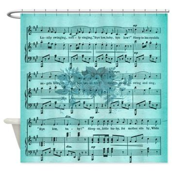 Aqua Vintage Music Sheet With Roses Shower Curtain> Vintage Aqua Music Sheet With Roses> Buy Gifts