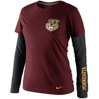 Nike Minnesota Golden Gophers Ladies Seasonal Premium Long Sleeve T-Shirt - Maroon/Black