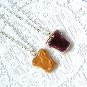 Peanut Butter Jelly Necklace Set, Best Friend's BFF Necklace, Choice of Sterling Silver Chain, Cute :D