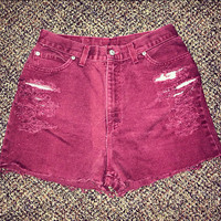 Maroon high waisted denim shorts